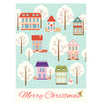christmas card with cute cottages in victorian vector image vector image