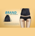 close up slim female body with sport backpack bag vector image vector image