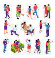 couple in love isometric set vector image vector image