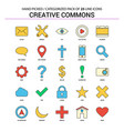 creative commons flat line icon set - business vector image