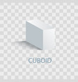 cuboid white geometric figure that casts shade vector image