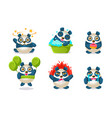 cute funny pandas characters set adorable vector image vector image