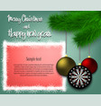 dartboard hanging on a christmas tree branch vector image