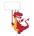 dragon holding a blank sign vector image vector image