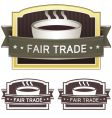 fair trade coffee label vector image vector image