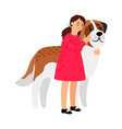 girl and her dog vector image