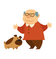 grandfather playing with mop pet licking his face vector image vector image