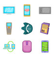 handheld device icons set cartoon style vector image vector image