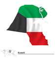 Map of Kuwait with flag vector image vector image