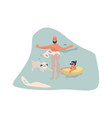 people at beach cartoon man with dog in water vector image vector image