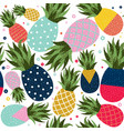 pineapple fruit color background pattern vector image vector image