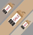 Price tag on recycle brown paper vector image