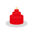 red cake icon vector image