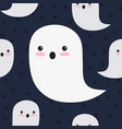 seamless pattern cute ghosts on black vector image vector image