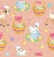 seamless pattern white bunny lamb and easter egg vector image
