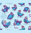 seamless pattern with cartoon pigeons design for vector image vector image