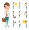 set of business man in occupation of vector image