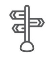 signpost line icon direction and sign guidepost vector image vector image