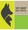 silhouettes of a cat and dog on the poster vector image vector image