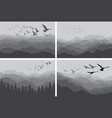 silhouettes of birds over mountains and forest vector image vector image