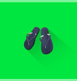 simple beach sandal icon on green background vector image
