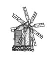 sketch old woodeb windmill isolated vector image