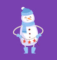 snowman cute cartoon winter christmas vector image