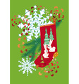 socks for gifts streamers and a snowflake on a gre vector image vector image