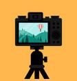 taking natural landscape scene photo through vector image vector image