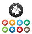 teamwork solution puzzle icons set color vector image