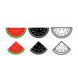 watermelon background bite icon melon food vector image