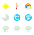 weather interface icons set cartoon style vector image vector image