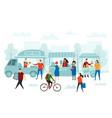 weekend fair market street shop food truck and vector image vector image