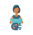 woman with laptop and share symbol vector image vector image