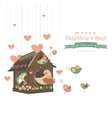 Birds in love and bird house vector image