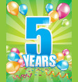 5 years birthday card vector image