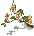 A tree with four monkeys vector image vector image
