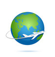 airplane fly around planet earth logo vector image