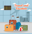 airport terminal travel scene vector image