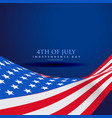 american flag in wave style vector image vector image