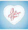 Blue Valentines Day Greeting Card with Pattern vector image vector image
