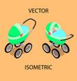 bright baby stroller with a sleeping baby vector image vector image