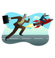 businessman racing with a businessman on rocket vector image