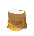 canvas bag with white flour golden ears vector image vector image