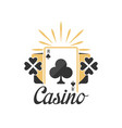 casino logo vintage gambling badge or emblem with vector image vector image