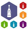 champagne bottle icons set hexagon vector image vector image