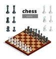 Chess icons Flat 3d isometric vector image vector image