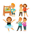 children doing arts painting and singing or ballet vector image