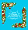 christmas garland frame corner of xmas gift bell vector image