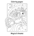 coloring book page cute girl sleeps on back vector image